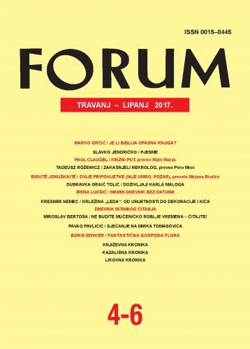 God. 56(2017), knj. 89, br. 4-6 (travanj-lipanj) : Forum : mjesečnik Razreda za književnost Hrvatske akademije znanosti i umjetnosti.