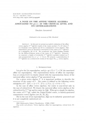 A note on the affine vertex algebra associated to gl(1|1)  at the critical level and its generalizations / Dražen Adamović