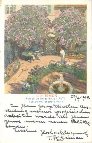 Dopisnica T.F. Šimona Antunu Ullrichu, Bechyne (Češka), 22.7.1914.
