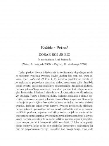 Dobar boj je bio : in memoriam Anti Stamaću (Molat, 9. listopada 1939.-Zagreb, 30. studenoga 2016.)