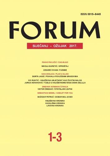 God. 56(2017), knj. 89, br. 1-3 (siječanj-ožujak) : Forum : mjesečnik Razreda za književnost Hrvatske akademije znanosti i umjetnosti.