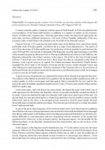 Paola Pinelli, Tra argento grano e panni: Piero Pantella, un operatore italiano nella Ragusa del primo Quattrocento. Firenze: Firenze University Press, 2013 : [review]