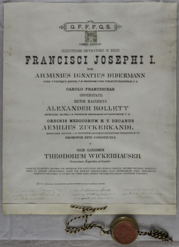 Doktorska diploma Theodora Wickerhausera