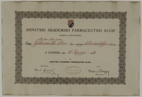 Zahvalnica Hrvatskog akademskog farmaceutskog kluba Sl. hrv. slav. zem. ljekarničkom zboru