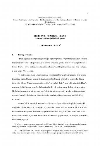 Prirodno i pozitivno pravo u oblasti poštivanja ljudskih prava