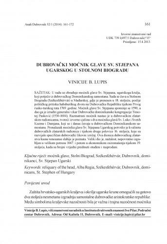 Dubrovački moćnik glave Sv. Stjepana Ugarskog u Stolnom Biogradu : Anali Zavoda za povijesne znanosti Hrvatske akademije znanosti i umjetnosti u Dubrovniku