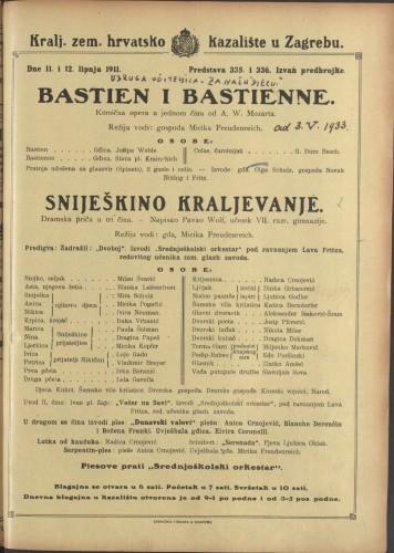 Bastien i Bastienne ; Sniješkino kraljevanje Komična opera u jednom činu ; Dramska priča u tri čina