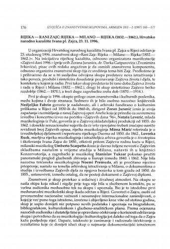 Rani Zajc: Rijeka-Milano- Rijeka (1832.-1862.), Rijeka 23. 11. 1996.