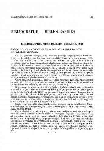 Bibliographia musicologica Croatica 1988