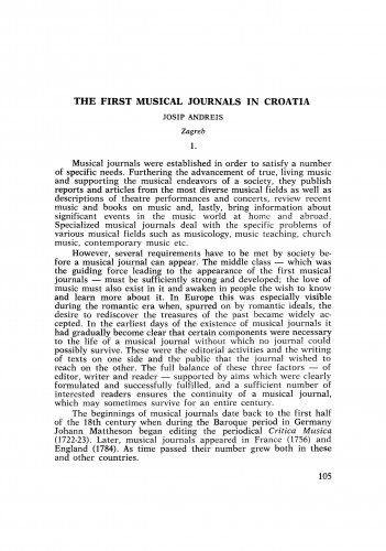 First Musical Journals in Croatia