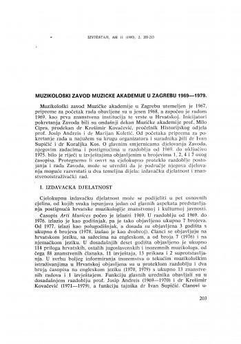 Muzikološki zavod Muzičke akademije 1969 – 1979.