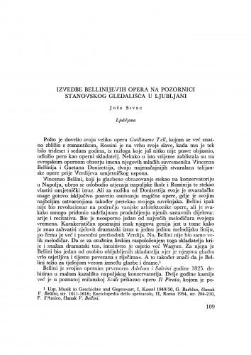 Izvedbe Bellinijevih opera na pozornici Stanovskoga gledališča u Ljubljani