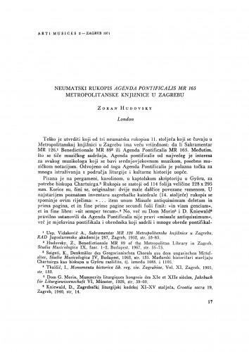 Neumatski rukopis Agenda pontificalis MR 165 Metropolitanske knjižnice u Zagrebu