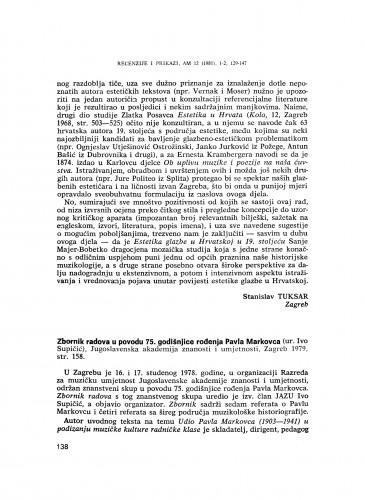 Zbornik radova u povodu 75. obljetnice rođenja Pavla Markovca