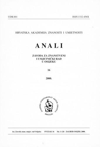 Sv. 16 (2000) : Anali Zavoda za znanstveni i umjetnički rad u Osijeku