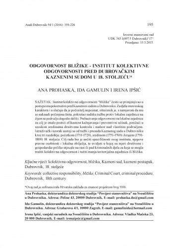 Odgovornost bližike - institut kolektivne odgovornosti pred dubrovačkim Kaznenim sudom u 18. stoljeću / Ana Prohaska, Ida Gamulin, Irena Ipšić