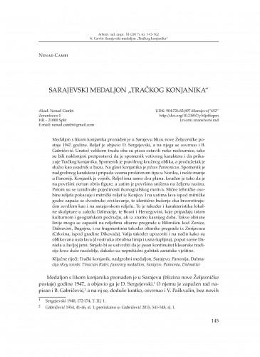 """Sarajevski medaljon """"Tračkog konjanika"""" / Nenad Cambi"""