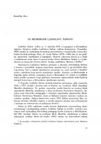 In memoriam Ladislavu Šabanu