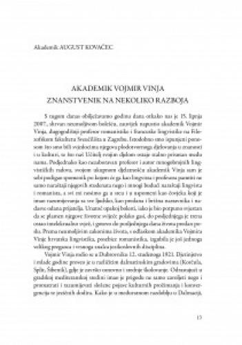 Akademik Vojmir Vinja : znanstvenik na nekoliko razboja