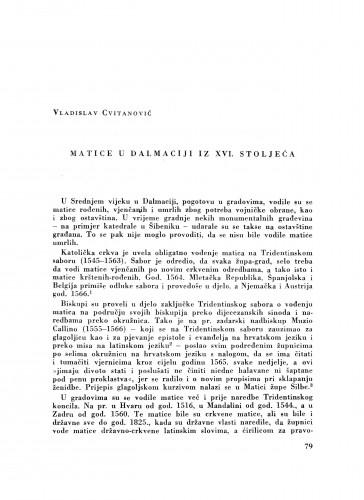 Matice u Dalmaciji iz XVI. stoljeća