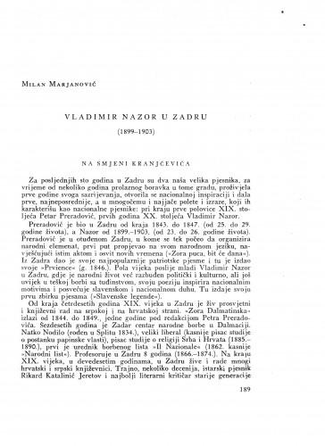 Vladimir Nazor u Zadru : (1899-1903)