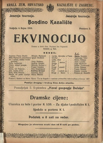 Ekvinocijo Drama u četiri čina