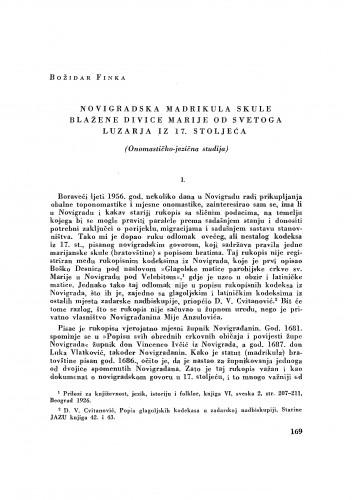 Novigradska madrikula skule Blažene divice Marije od svetoga luzarja iz 17. stoljeća : onomastičko-jezična studija / Božidar Finka