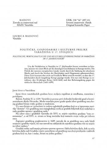 Političke, gospodarske i kulturne prilike u Varaždinu u 17. stoljeću : Radovi Zavoda za znanstveni rad Varaždin