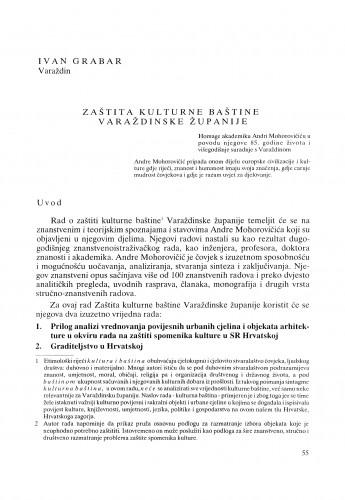 Zaštita kulturne baštine Varaždinske županije : Radovi Zavoda za znanstveni rad Varaždin