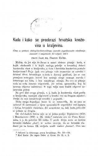 Kada i kako se preobrazi hrvatska kneževina u kraljevinu : RAD
