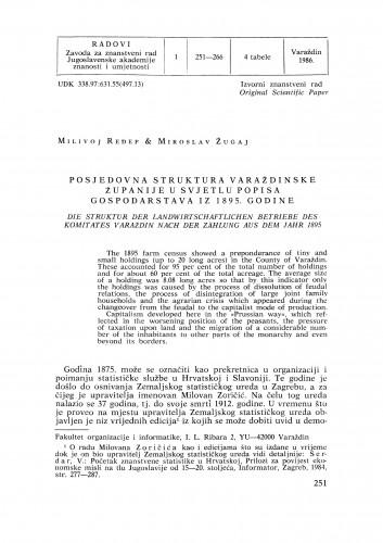 Posjedovna struktura Varaždinske županije u svjetlu popisa gospodarstava iz 1895. godine : Radovi Zavoda za znanstveni rad Varaždin
