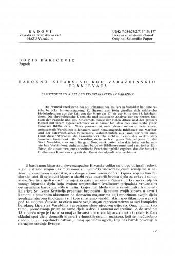 Barokno kiparstvo kod varaždinskih franjevaca : Radovi Zavoda za znanstveni rad Varaždin