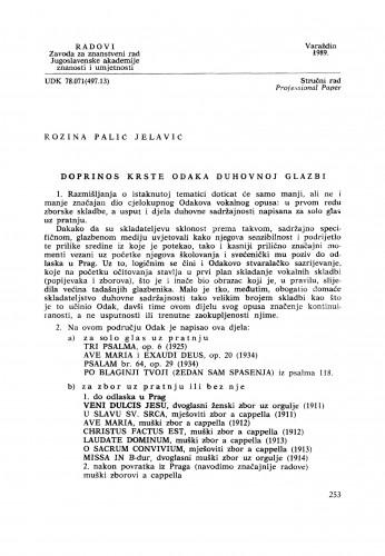 Doprinos Krste Odaka duhovnoj glazbi : Radovi Zavoda za znanstveni rad Varaždin