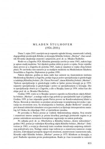 Mladen Štulhofer (1924.-2010.) : nekrolog : Ljetopis