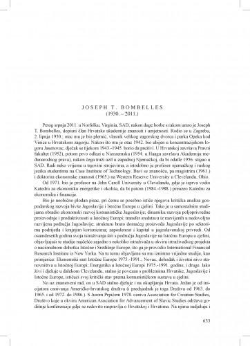 Joseph T. Bombelles (1930.-2011.) : [nekrolog] : Ljetopis