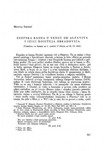 Esopska basna u Vencu od alfavita i Ižici Dositeja Obradovića
