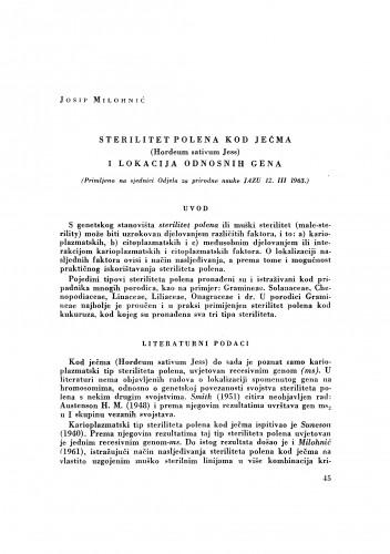 Sterilitet polena kod ječma (Hordeum sativum Jess) i lokacija odnosnih gena
