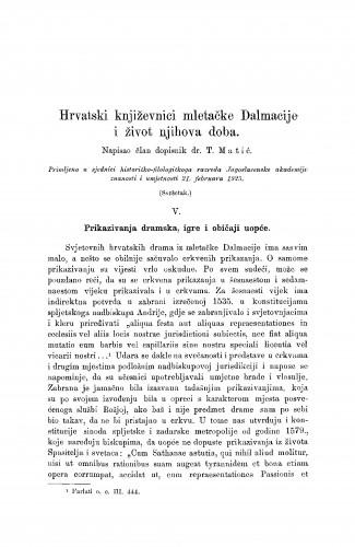 Hrvatski književnici mletačke Dalmacije i život njihova doba