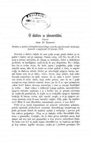 O dativu u slovenštini : RAD