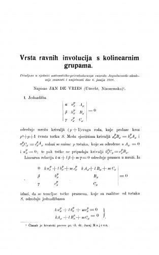 Vrsta ravnih involucija s kolinearnim grupama