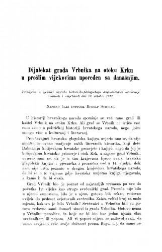 Dijalekat grada Vrbnika na otoku Krku u prošlim vijekovima upoređen sa današnjim