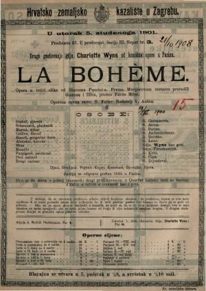 La BohÈme opera u četiri slike / od Giacoma Puccini-a