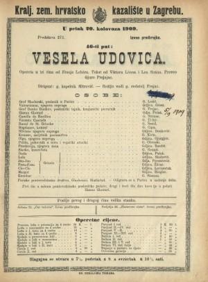 Vesela udovica Opereta u tri čina / od Franje Lehara