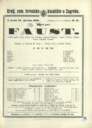 Faust : Velika opera u pet činova / Prema prvom dijelu drame Faust Johanna Wolfganga Goethea  =  Faust