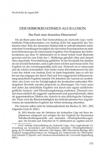 <Der> Serbokroatismus als Illusion : Das Fazit einer deutschen Dissertation : [prikaz] : Filologija : časopis Razreda za filološke znanosti Hrvatske akademije znanosti i umjetnosti