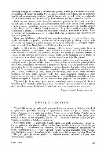 Muzej u Virovitici : Bulletin Instituta za likovne umjetnosti Jugoslavenske akademije znanosti i umjetnosti