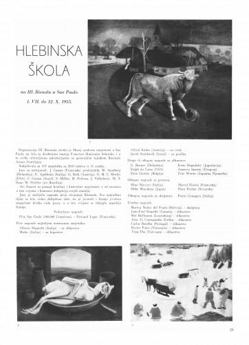 Hlebinska škola na III. Bienalu u Sao Paulo 1. VII do 12. X 1955. : Bulletin Instituta za likovne umjetnosti Jugoslavenske akademije znanosti i umjetnosti