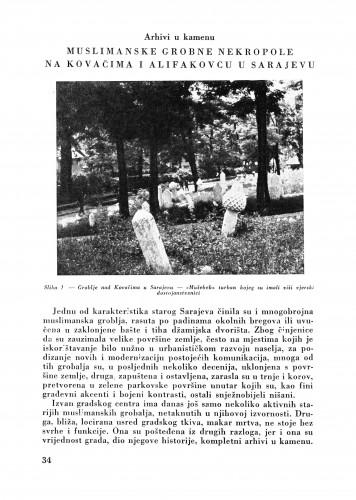 Arhivi u kamenu : Muslimanske grobne nekropole na Kovačima i Alifakovcu u Sarajevu : Bulletin Zavoda za likovne umjetnosti Jugoslavenske akademije znanosti i umjetnosti