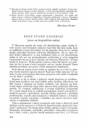 Kroz staru galeriju : Bulletin Odjela VII. za likovne umjetnosti Jugoslavenske akademije znanosti i umjetnosti