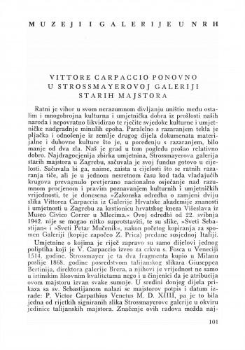 Vittore Carpaccio ponovo u Strossmayerovoj galeriji starih majstora : Bulletin Zavoda za likovne umjetnosti Jugoslavenske akademije znanosti i umjetnosti